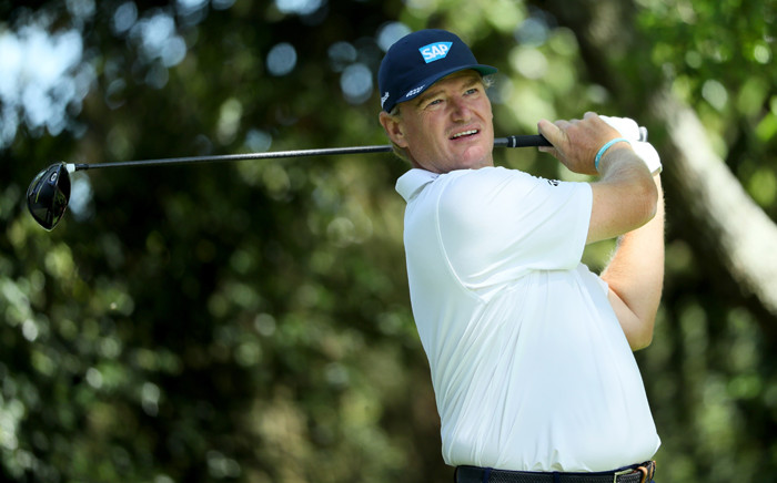 Ernie Els of South Africa plays his shot from the second tee during the third round of the 2017 Masters Tournament at Augusta National Golf Club on 8 April, 2017 in Augusta, Georgia. Picture: AFP.