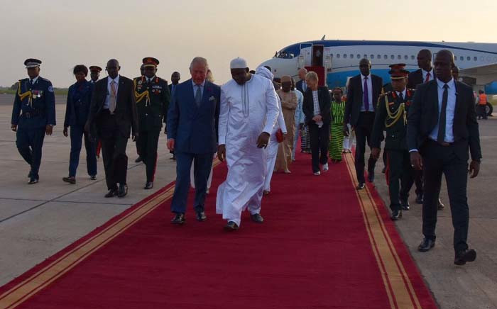 Britain's Prince Charles and his wife Camilla landed Wednesday in The Gambia for the first leg of a week-long African tour. Picture: @ClarenceHouse/Twitter
