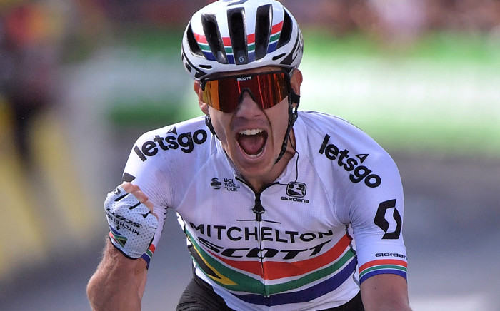 FILE: South Africa's Daryl Impey celebrates as he wins on the finish line of the ninth stage of the 106th edition of the Tour de France cycling race between Saint-Etienne and Brioude, in Brioude, eastern France, on July 14, 2019. Picture: AFP