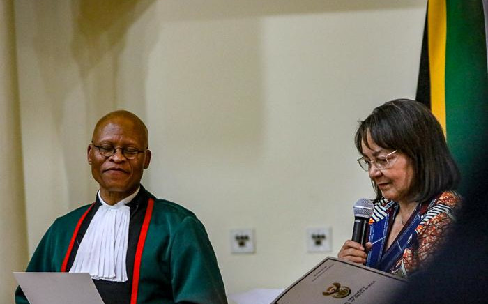 Public Works Minister Patricia de Lille being sworn-in by Chief Justice Mogoeng Mogoeng at Sefako Makgatho Presidential Guesthouse, Tshwane on 30 May 2019. Picture: Kayleen Morgan/EWN