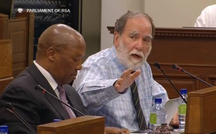 A screengrab of Nicky Oppenheimer and Fireblade director and former Northern Cape Premier Manne Dipico addressing the Home Affairs Committee in Parliament on 30 October 2018. Picture: YouTube.