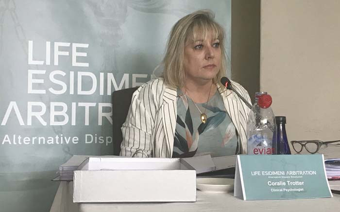 Clinical psychologist Coralie Trotter testifies at the Life Esidimeni arbitration hearings. Picture: Masego Rahlaga/EWN.