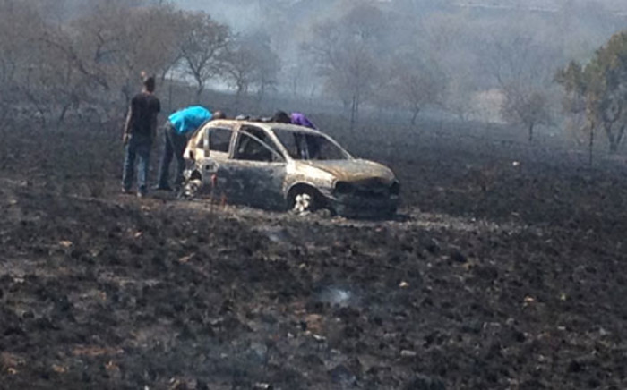 At least 31 people were injured when two passenger busses and a Corsa Lite vehicle collided on the N1 Highway near Polokwane on 26 August 2012. The car set alight and burnt the veld it landed on. Picture: Netcare 911.