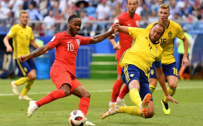 England's forward Raheem Sterling (L) vies with Sweden's defender Andreas Granqvist during the Russia 2018 World Cup quarter-final football match between Sweden and England. Picture: AFP