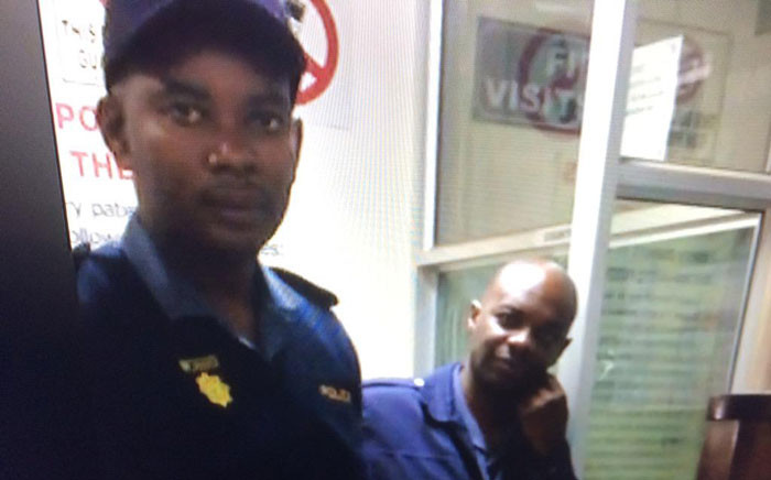 A screengrab of the alleged rogue policemen at the Edenvale Police Station.