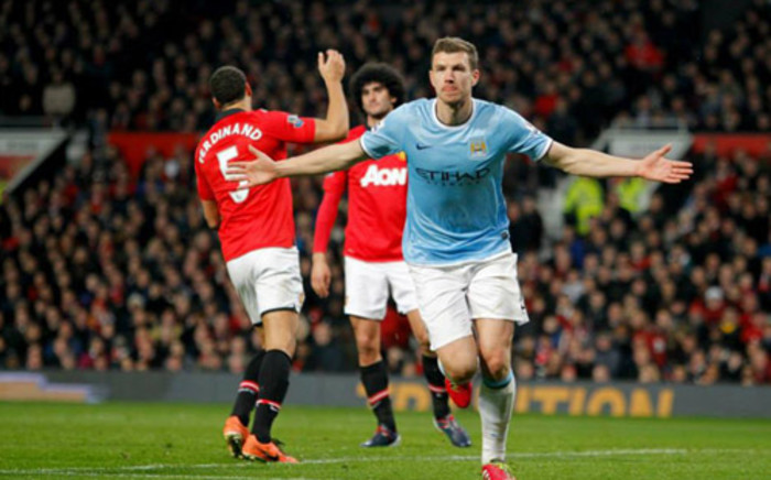Edin Dzeko celebrates his goal during the English Premier League match against rival Manchester United at Old Trafford on 25 March 2014. Picture: Facebook.