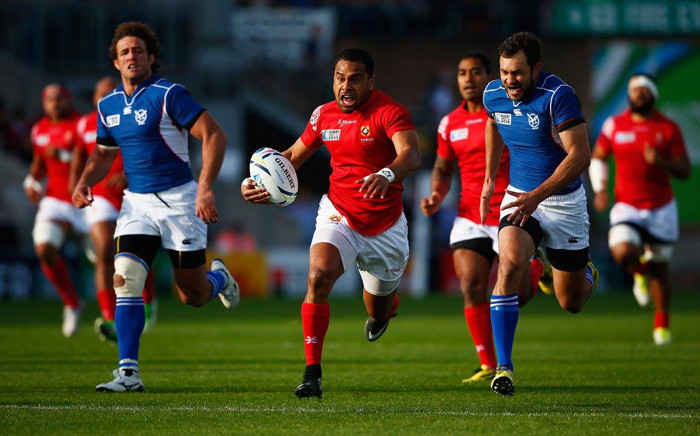 Telusa Veainu of Tonga runs at the Namibian defence during the 2015 Rugby World Cup Pool C match between Tonga and Namibia at Sandy Park on 29 September, 2015 in Exeter, United Kingdom. Picture: Rugby World Cup Facebook page.