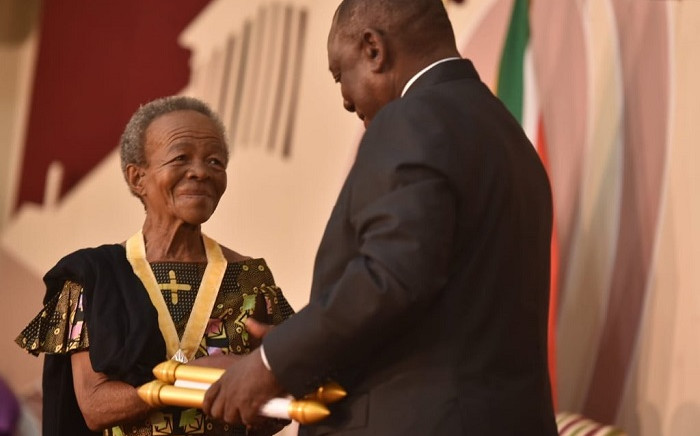 Mary Twala receives the Order of Ikhamanga from President Cyril Ramaphosa. Picture: Presidency.