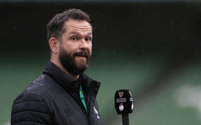 FILE: Ireland's head coach Andy Farrell gives an interview ahead of the Six Nations international rugby union match between Ireland and France at the Aviva Stadium in Dublin, on February 14, 2021. Picture: Brian Lawless / POOL / AFP