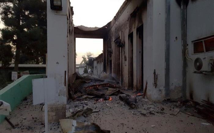 In this photograph released by Medecins Sans Frontieres (MSF) on 3 October 2015, fires burn in part of the MSF hospital in the Afghan city of Kunduz after it was hit by an air strike. Picture: AFP / MSF.