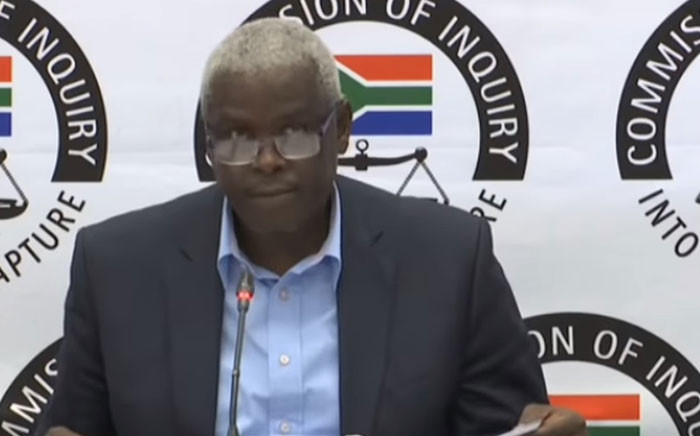 A YouTube screengrab shows former Free State MEC for Economic Development Mxolisi Dukwana at the state capture inquiry on 27 August 2019.