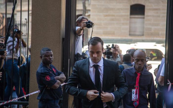 Oscar Pistorius arrives at the High Court in Pretoria on 18 April 2016. Picture: Reinart Toerien/EWN.