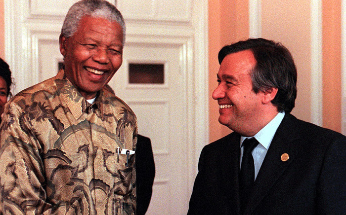 FILE Antonio Guterres and Nelson Mandela seen at City Hall in Cardiff on Monday, 15 June, 1998 on the fringe of the EU Summit. Picture: AFP
