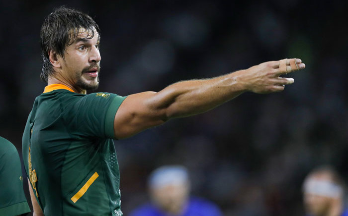 FILE: South Africa lock Eben Etzebeth gestures during the Japan 2019 Rugby World Cup Pool B match between South Africa and Italy at the Shizuoka Stadium Ecop in Shizuoka on 4 October 2019. Picture: AFP