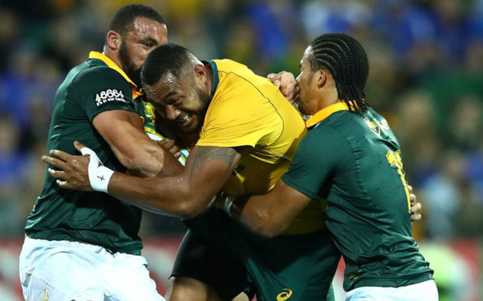 Defence! Springbok players defend against a Wallabies attack in their 2017 Rugby Championship match in Perth on 9 September 2017. Picture: @Springboks/Twitter
