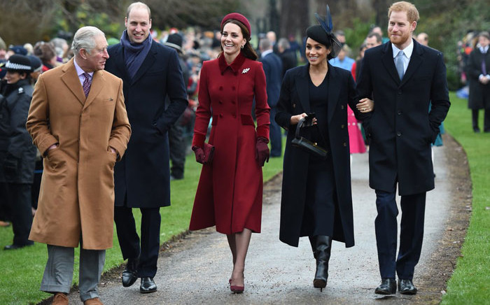 Charles, the Prince of Wales (left) along with Prince William his wife Kate, Meghan Markle and Prince Harry attend a Christmas service at the St Mary Magdalene church in Sandringham, eastern England on 25 December 2018. Picture: @RoyalFamily/Twitter