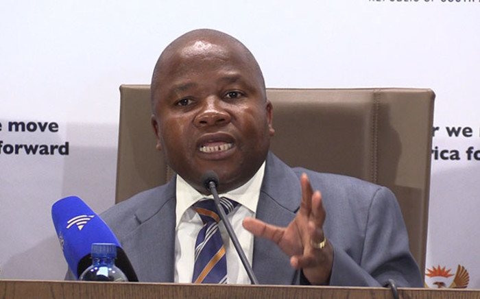 Cooperative Governance Minister Des Van Rooyen briefs the media on the state of the readiness ahead of the Local Government elections in August. Picture: Vumani Mkhize/EWN.
