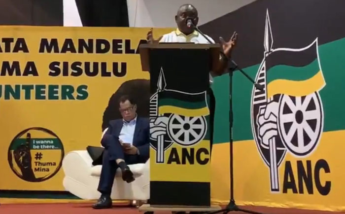The ANC's Danny Jordaan (seated) and party leader Cyril Ramaphosa hit the campaign trail in Soweto on  15 March 2019. Picture: @MYANC/Twitter