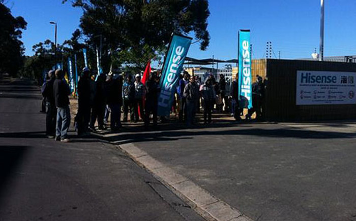 Unemployed Atlantis residents queue outside the Hisense Factory, hoping to find work. Picture: Carmel Loggenberg/EWN