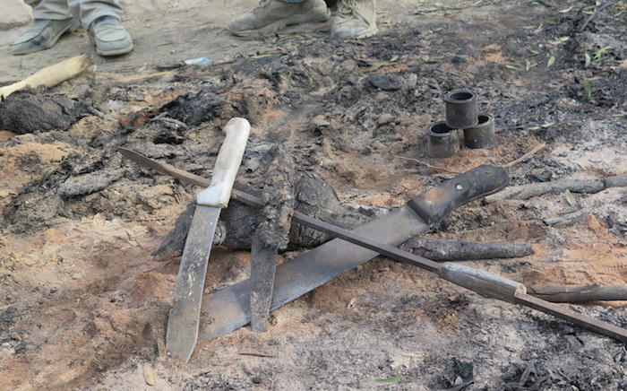Illegal initiation school was destroyed by police during raid to save students from harm. Picture: Louise McAuliffe/EWN