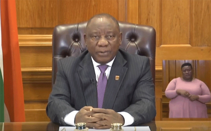 A screengrab of President Cyril Ramaphosa on 30 March 2020.