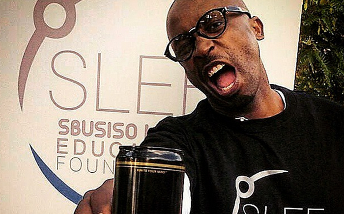 DJ Sbu promoting his energy drink at his Sbusiso Leope Education Foundation, Spirit of Humanity campaign. Picture: DJSbu Instagram.
