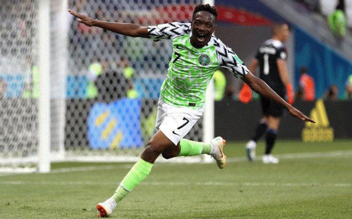 Nigeria's Ahmed Musa celebrates scoring their second goal. Picture: @FIFAWorldCup/Twitter.
