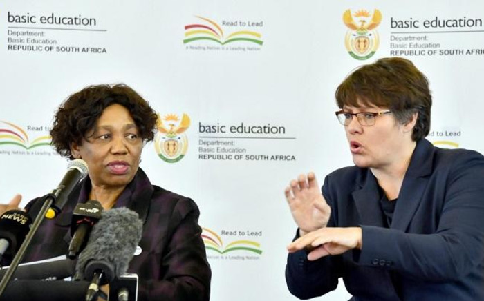 Basic Education Minister Angie Motshekga (L) addressing the media on 1 June 2020 at Sunrise View Secondary School, Rustenburg. Picture: GCIS.