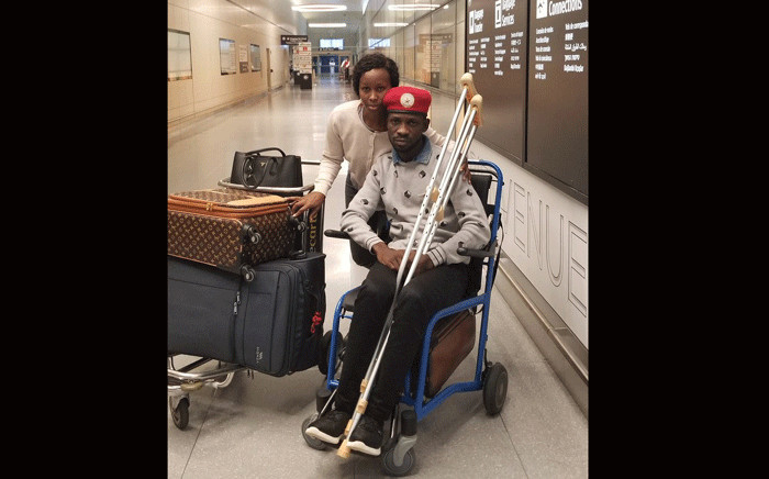 Prominent Ugandan opposition lawmaker Robert Kyagulanyi and his wife at a US airport. Picture: @HEBobiwine/Twitter.