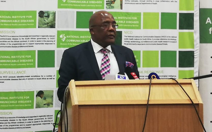 Health Minister Aaron Motsoaledi gives a briefing on the listeriosis outbreak on 3 September 2018. Picture: EWN