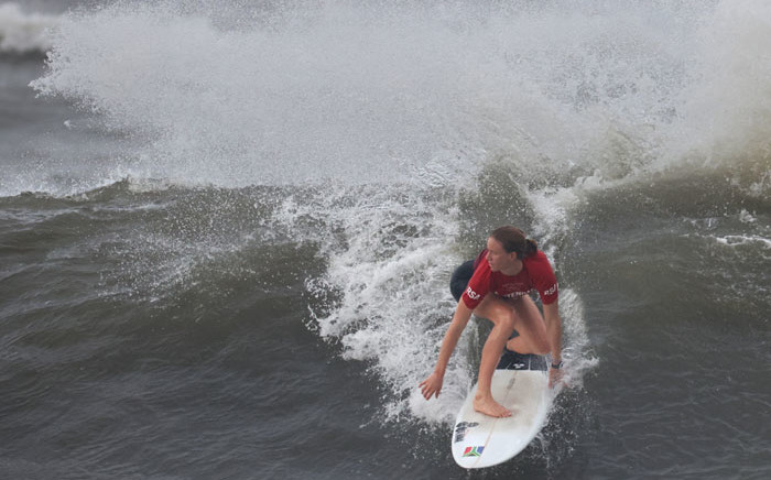 South Africa's Bianca Buitendag competes during the women's Surfing gold medal final at the Tsurigasaki Surfing Beach, in Chiba, on 27 July 2021 during the Tokyo 2020 Olympic Games. Picture: Yuki Iwamura/AFP