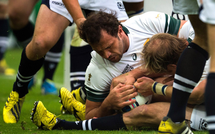 Springboks' Bismarck du Plessis fights for the ball during the Rugby World clash against Scotland on 3 October 2015. Picture: Rugby World Cup Facebook page.