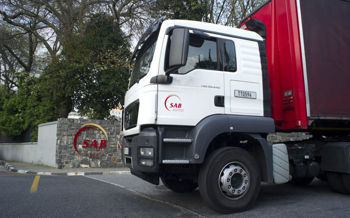 FILE: A South African Breweries (SAB) truck leaves the Newlands Brewery in Cape Town. Picture: Rodger Bosch/AFP