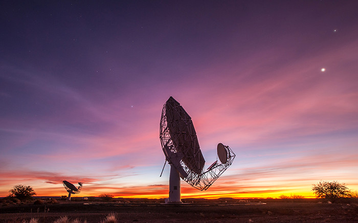 One of the Meerkat radio telescopes in the Northern Cape, as part of the SKA. Picture: SKA