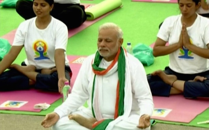 Prime Minister Modi leads international yoga day. Picture: CNN