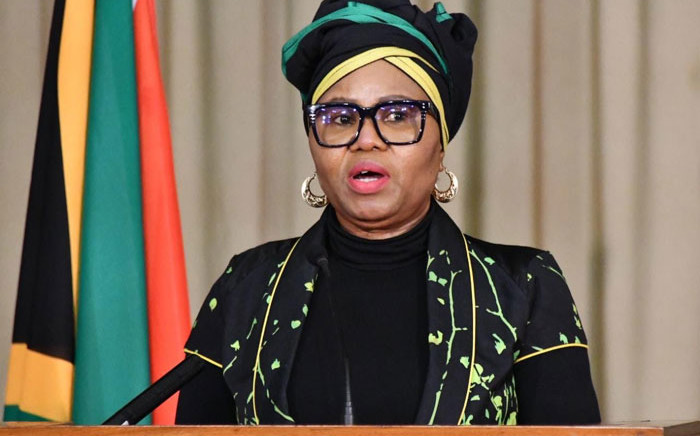 Social Development Minister Lindiwe Zulu attends a media briefing on 13 July 2020. Picture: @The_DSD/Twitter