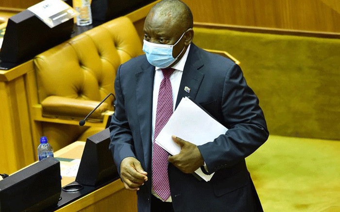 President Cyril Ramaphosa in Parliament for Finance Minister Tito Mboweni's Budget speech on 24 February 2021. Picture: GCIS.