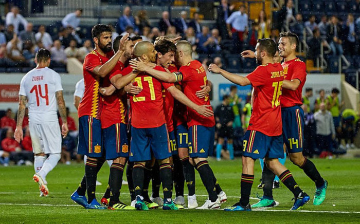 Spain players celebrate a goal. Picture: @SeFutbol/Twitter