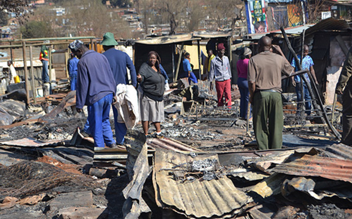 Several shacks burnt at the Princess Informal Settlement in Johannesburg on 1 July, 2012. Picture: Tshidi Madia/EWN