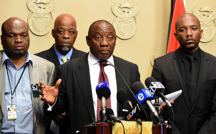 FILE: Deputy President Cyril Ramaphosa meeting with opposition party representatives at Tynhuys, Parliament in Cape Town on 18 November 2014. Picture: GCIS.