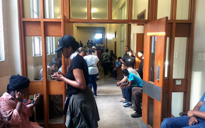 Parents and students at the Wynberg Magistrates Court where eight protesting students appeared after being arrested at UCT last night on charges of malicious damage to property and public violence. 17 Feb 2016 Picture: Siyabonga Sesant/EWN.