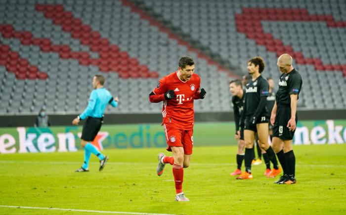 Bayern Munich's Robert Lewandowski celebrates his goal against Salzburg in their UEFA Champions League match on 25 November 2020. Picture: @FCBayernEN/Twitter