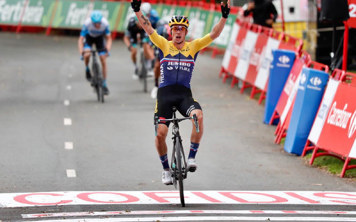 team Jumbo-Visma's Primoz Roglic wins stage 1 of the Vuelta a Espana on 20 October 2020. Picture: @JumboVismaRoad/Twitter