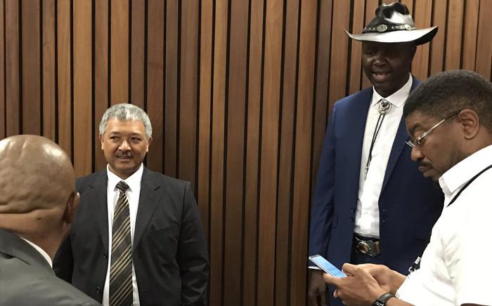 Former Hawks head Anwa Dramat (left), Leslie Maluleke and Shadrack Sibiya appeared in the Pretoria High Court on 8 October 2018. Picture: Barry Bateman/EWN