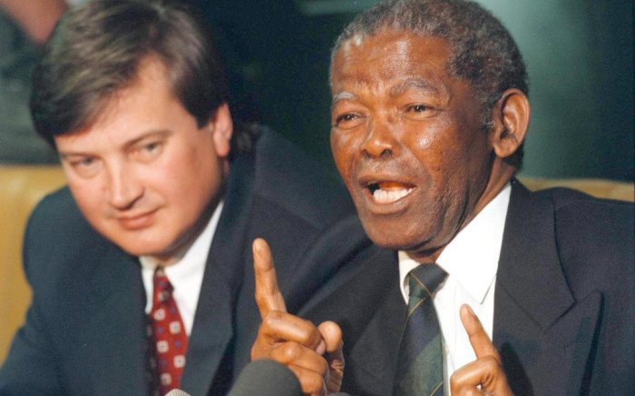 Former South African Rugby Football Union president, Silas Nkanunu (R). Picture: AFP.