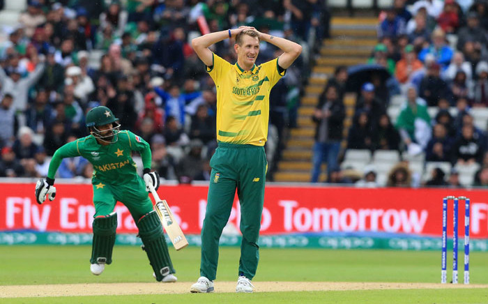 Proteas bowler Chris Morris reacts to a missed opportunity. Picture: AFP