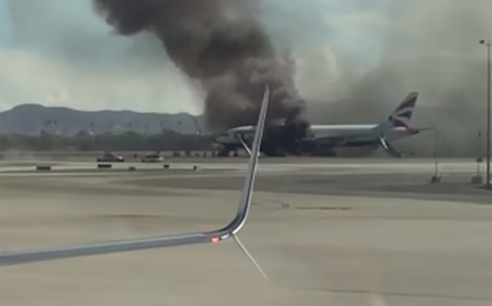 A screengrab showing a British Airways jetliner engine caught fire as the airplane was departing on a London-bound flight from Las Vegas on 8 September 2015.