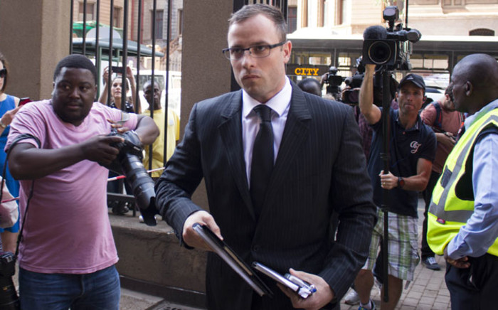 Oscar Pistorius arriving at the High Court in Pretoria head of his sentencing on 14 October 2014. Picture: Christa Eybers/EWN.