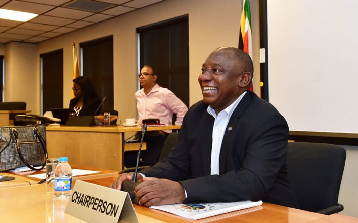 President Cyril Ramaphosa chairs a meeting of the Jobs Summit Presidential Committee at Nedlac on 3 October 2018 attended by leaders of government, labour, business and civil society. Picture: @CyrilRamaphosa/Twitter