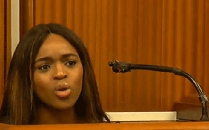 A screengrab shows Cheryl Zondi in the High Court in Port Elizabeth on 16 October 2018. Picture: SABC Digital News/youtube.com
